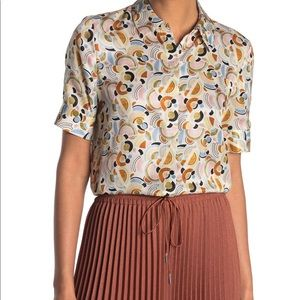 Layafette 148 Silk Short Sleeve Blouse Size L NWT
